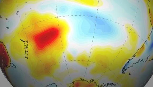 """La """"mancha del sur"""" se ha venido calentando a una tasa cuatro veces superior a su entorno. (GENTILEZA RENÉ GARREAUD)."""