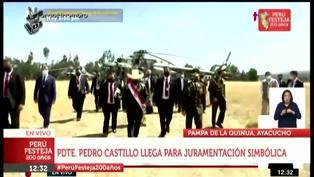 Presidente Castillo llega en helicóptero a la Pampa de la Quinua para juramentación simbólica