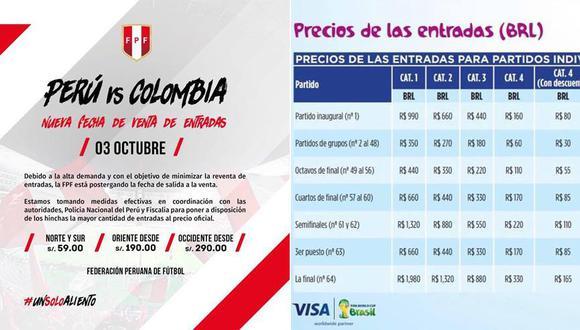 Una comparación entre los precios de las entradas para el Perú vs. Colombia y el Mundial 2014