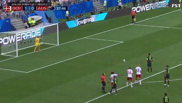 Dinamarca vs. Australia: Jedinak marcó de penal tras designación del VAR por Mundial Rusia 2018. (Foto: Captura de video)