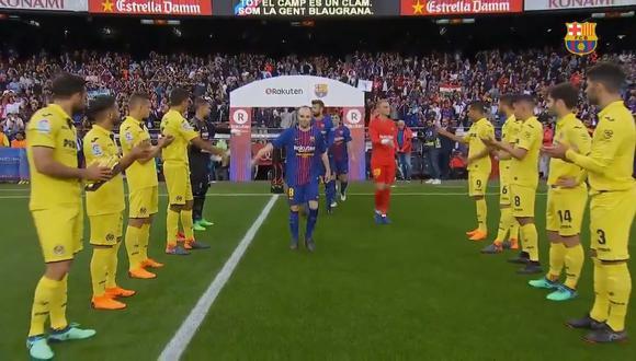 Villarreal le hizo el 'pasillo' al Barcelona, flamante campeón de la Liga española. (Foto: captura de YouTube)