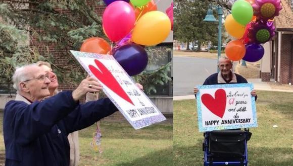 """""""Te he amado 67 años y todavía lo hago. Feliz aniversario"""", decía el cartel que cargaba Bob. (Fotos: @MarissaAlter/facebook)"""