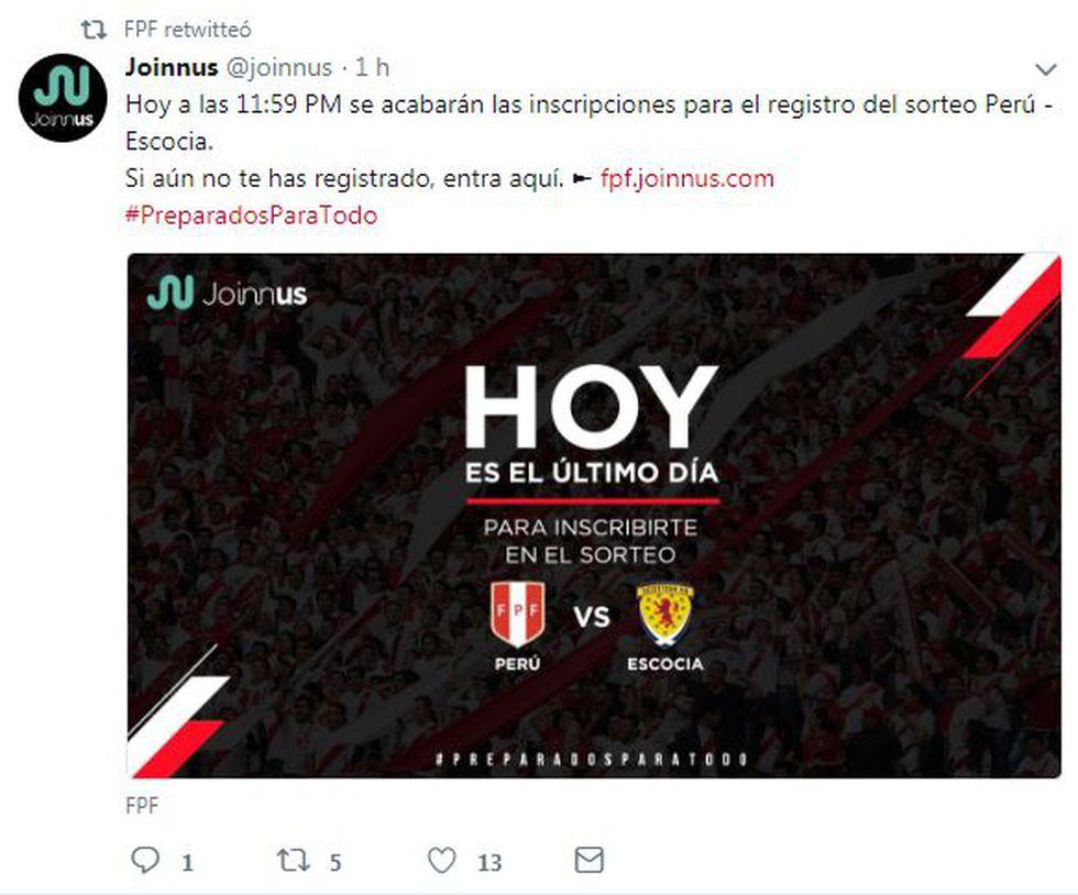 Joinnus informó, mediante su Twitter, que hoy se termina la inscripción para el sorteo de entradas para el Perú vs Escocia
