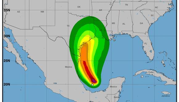 La trayectoria de la tormenta tropical Nicholas. (Centro Nacional de Huracanes de Estados Unidos).