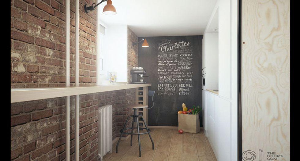 Rincón didáctico. Una de las paredes de la cocina está cubierta con pintura pizarra. Para darle dinamismo, se optó por intervenirla con lettering de distintas tipografías y tamaños. Se puede crear con tiza blanca o letras en vinil.
