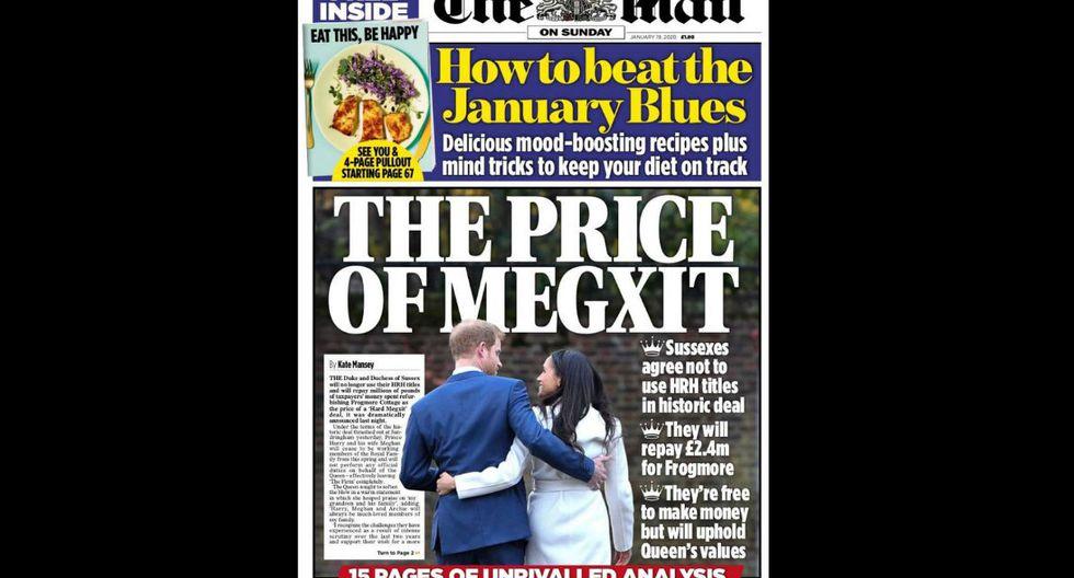 """""""El precio del Megxit"""", coloca """"The Daily Mail"""" en su portada haciendo referencia al curioso nombre que le han dado a la renuncia de los Duques de Sussex."""