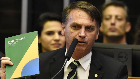 Jair Bolsonaro asegura ante Parlamento que respetará la Constitución de Brasil. (AFP)