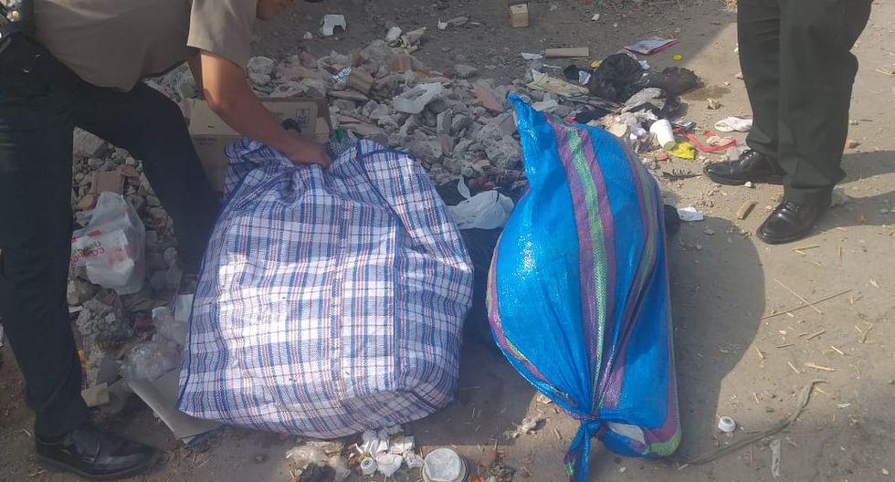 En un costal se halló el torso de la víctima y en otro las otras extremidades. (Foto: PNP)