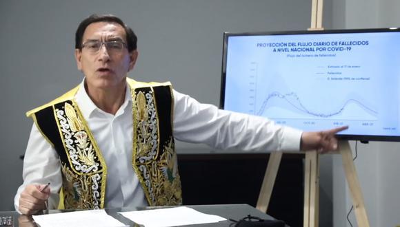 El exmandatario sugirió que las elecciones generales se muevan para el 23 de mayo. Según explicó, en abril se proyecta un pico de contagios con tendencia a la baja para el mes siguiente. (Captura: Facebook Martín Vizcarra)