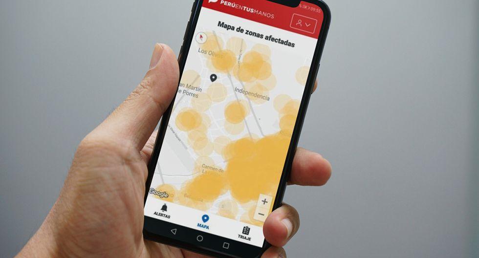 """¿Son casos contagiados los círculos naranjas que se ven en la app """"Perú en tus manos""""? Conoce su verdadero significado. (Foto: MAG)"""
