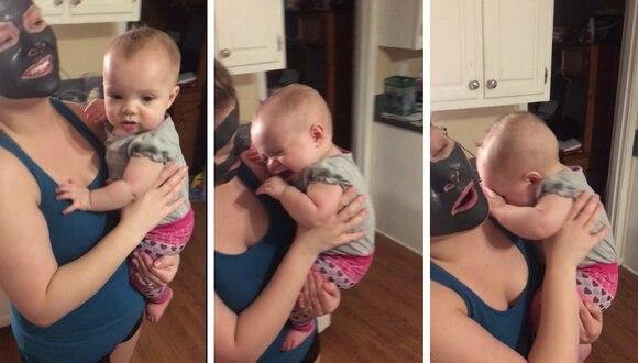 La bebé se robó los corazones de todos con su adorable reacción al no poder reconocer a su madre. (Crédito: Rumble Viral en YouTube)