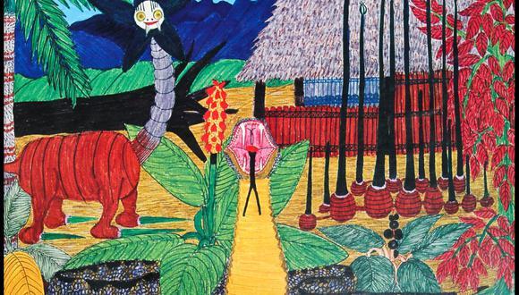 """El sueño de la serpiente del pintor asháninka Enrique Casanto. Pablo Macera publicó junto a Casanto en varias oportunidades. Destacan libros como """"La cocina mágica asháninka"""" y """"El poder libre asháninka"""". (Foto: Archivo / Pao Flores)"""