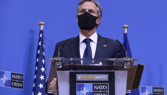 """Imagen de hace unos días del secretario de Estado de Estados Unidos, Antony Blinken, que ha asegurado que la decisión de retirarse de Afganistán ha sido fruto de """"un proceso muy deliberado y plenamente informado"""". (JOHANNA GERON / POOL / AFP)."""
