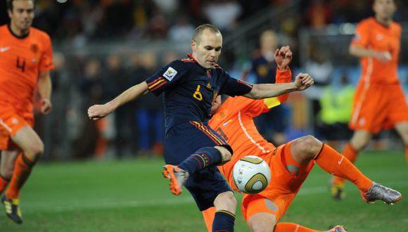 Andrés Iniesta anotó el gol de la victoria en la final ante Holanda. (Foto: AFP)