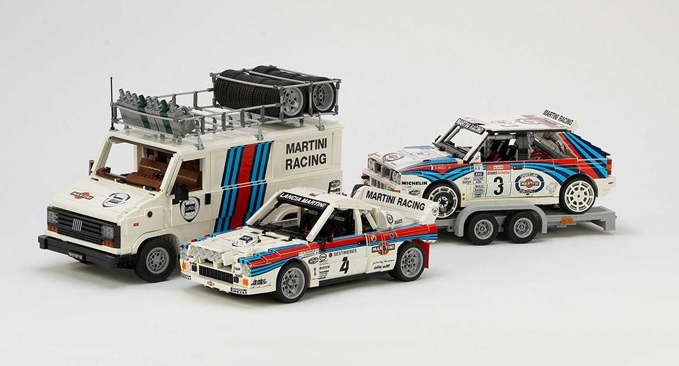 El set de Lancia Martini incluye un Lancia Delta Integrale Evo, un Lancia 037 y una furgoneta Fiat Ducato del equipo de rally. (Fotos: Lego Ideas).