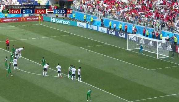 El mediocampista de Arabia Saudita se encargó de desatar la algarabía de los hinchas nacionales con esta anotación que significó la igualdad parcial (1-1) ante Egipto, por el cierre de la fase de grupos de Rusia 2018. (Foto: captura de video)