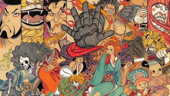 """Los personajes de """"One Piece"""" al estilo del arte del periodo Edo, ilustrado por el autor original, Eiichiro Oda. Imagen: Shueisha."""