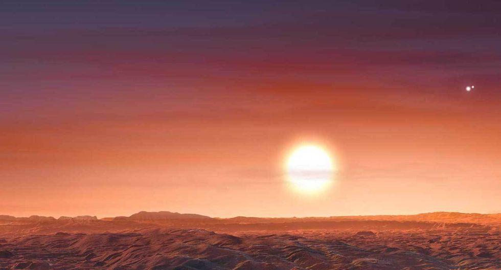 Un exoplaneta recién descubierto, LTT 1445 A b, orbita estrechamente a su estrella madre; esa estrella, a su vez, orbita a otras dos, formando un sistema de tres estrellas. (Imagen: ESO / M. Kornmesser)