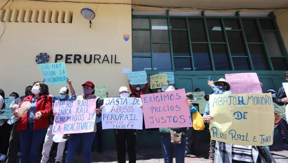 Cusco: plantón y movilizaciones contra tarifas de PeruRail e Inca Rail. (Foto: Melissa Valdivia)