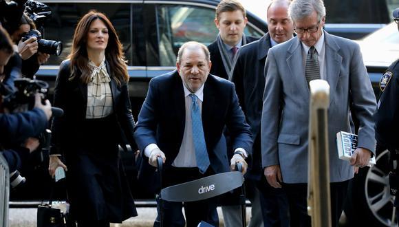 Harvey Weinstein a su llegada al tribunal de Nueva York donde fue condenado por violación y abuso sexual. (AP, Peter Foley/Bloomberg).