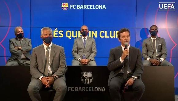 La imagen de los directivos del Barcelona en el sorteo de la Champions League. (Foto: UEFA TV)