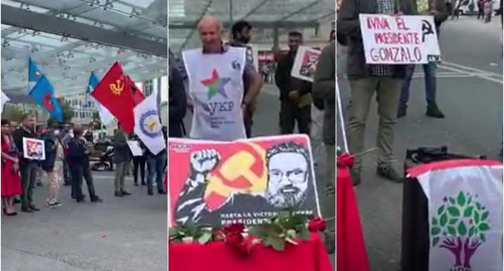 Una veintena de personas se reunieron en Berna, Suiza, para homenajear al fallecido líder del grupo terrorista Sendero Luminoso, Abimael Guzmán. (Capturas de video)