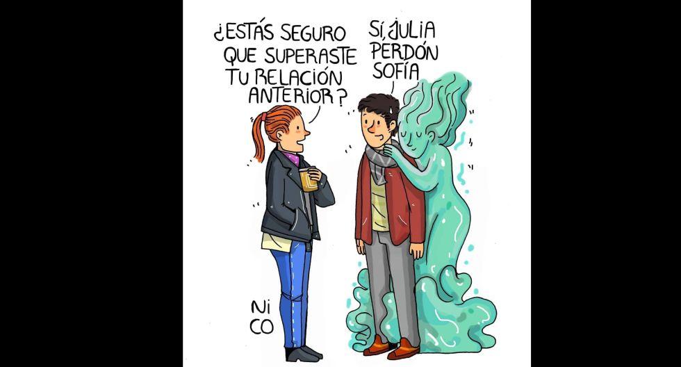 Cuando el fantasma de los 'ex' se cuela en el nuevo inicio de una relación. (Foto: IG/ @nicoilustraciones)