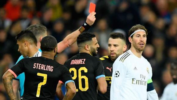Sergio Ramos viajó con el plantel del Real Madrid a Manchester, pero no podrá jugar en el Etihad Stadium tras ser expulsado en el duelo de ida de los octavos de final de la Champions League 2019-2020. (Foto: Agencias)
