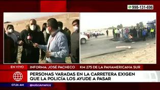 Panamericana sur sigue bloqueada en varios tramos por protesta de trabajadores de agroexportadoras
