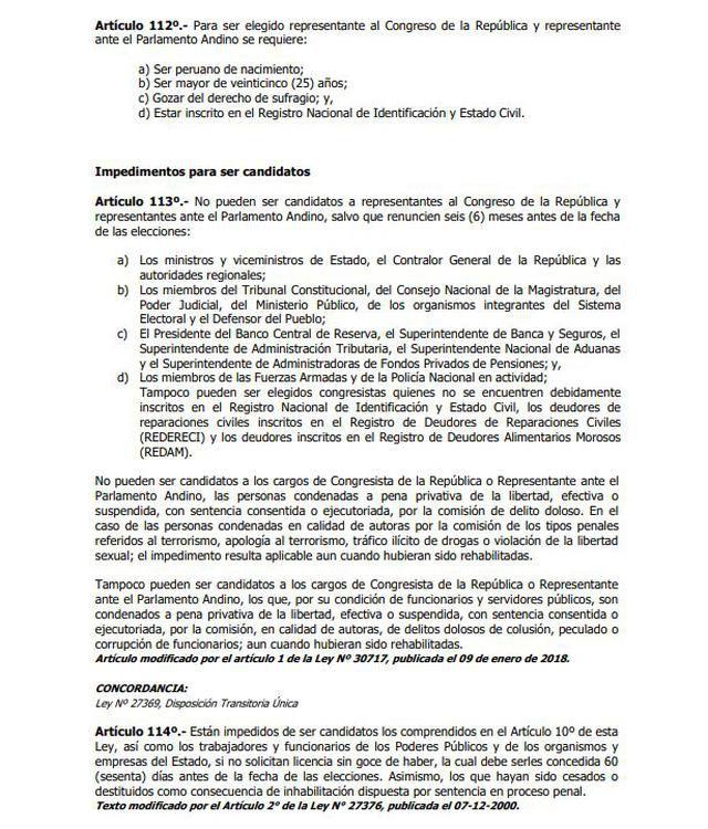 Parte de la Ley Orgánica de Elecciones (LOE).