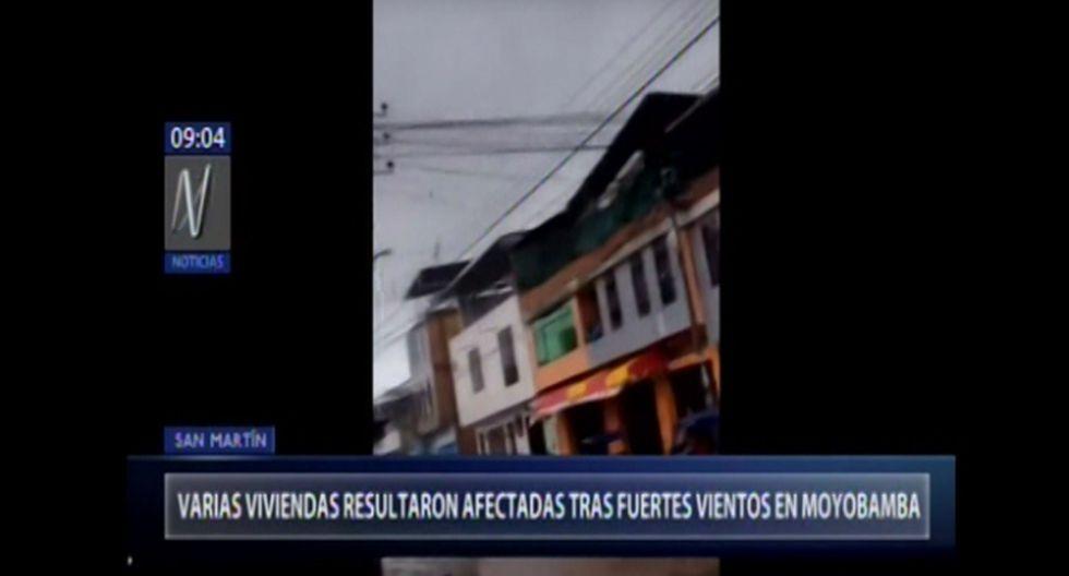 El COEN informó que el último sábado varias viviendas de la provincia de Moyobamba, en la región San Martín, se vieron afectadas debido a los fuertes vientos que se registraron en la zona. (Foto captura: Canal N)