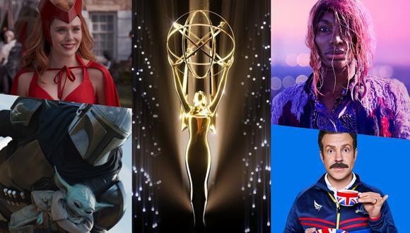 """En la imagen, """"WandaVision"""", """"The Mandalorian"""", """"I May Destroy You"""" y """"Ted Lasso""""; algunas de las series más nominadas en los Premios Emmy 2021. Fotos: Disney+/ HBO/ Apple TV+/ TV Academy."""