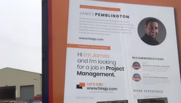 Esta fue la publicidad que usó James Pemblington para buscar un nuevo empleo en Reino Unido.| Foto: Videlo/YouTube