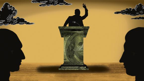 """""""Los empresarios apuestan por el o los candidatos que defienden el sistema económico que ellos quieren, porque se benefician de él"""". (Ilustración: Giovanni Tazza)."""