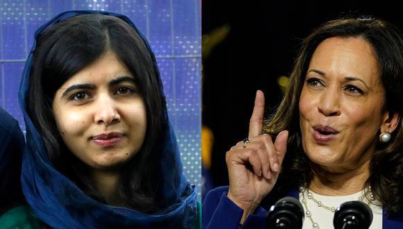 Malala Yousafzai ( izq.) y  Kamala Harris (der.) son mujeres que en diferentes ámbitos lograron las metas que se propusieron, desde la educación para más niñas hasta romper el techo de cristal para más mujeres. (Fotos: AP)