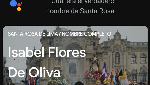Google Assistant y los comandos secretos del asistente por el Día de Santa Rosa de Lima. (Google)
