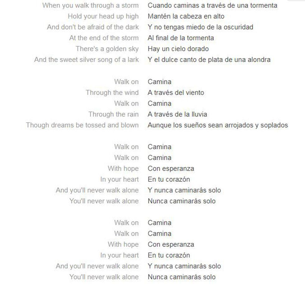Letras en inglés y español del himno de los hinchas del Liverpool. (Foto: Captura)