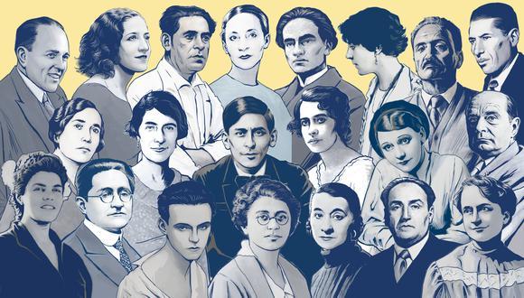 """La exposición virtual """"21 intelectuales peruanos del siglo XX"""" explora en la vida y obra de 11 mujeres y 10 hombres nacidos entre fines del siglo XIX y las primeras décadas del siglo XX. Ilustraciones de Gino Palomino."""