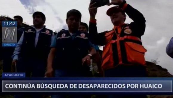 Equipo de rescate continúa con la búsqueda de desaparecidos por huaico. (Captura: Canal N)
