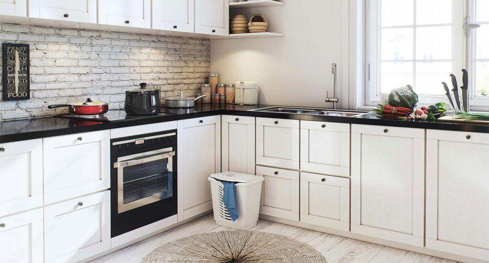 Puedes darle un toque rústico a la cocina enchapando los ladrillos entre los reposteros altos y bajos. (Foto: Image Box Studio)
