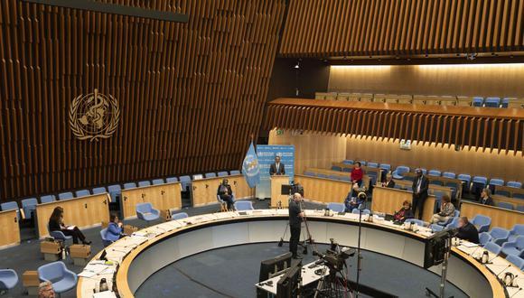 Imagen muestra una vista general de la sala de asambleas de la Organización Mundial de la Salud, el 18 de mayo de 2020. (Christopher Black / Organización Mundial de la Salud / AFP).