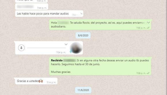 Ese chat muestra la coordinación entre la realizadora Rocío Chuquillanqui y un voluntario del proyecto que quiso compartir su experiencia en la cuarentena.