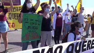 Un puñado de manifestantes protesta contra la Copa América a horas de su inauguración