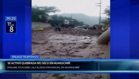La alcaldesa de Huarochirí,Eveling Feliciano, pidió el apoyo del Gobierno para descolmatar las quebradas del Valle del río Rímac. (Canal N)