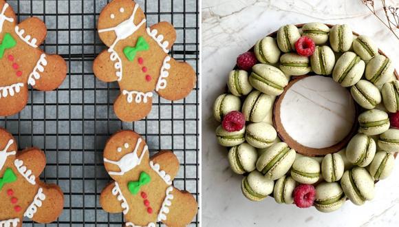 Izquierda: galletas de jengibre decoradas a mano con un detalle especial: los muñecos llevan mascarillas de glasé. En La Teoría de los 6 cafés. Derecha: Corona de adviento con sucre de chocolate, mermelada de fresa, crema de especias y macarons de chocolate y pistacho. Propuesta de Alanya Repostería.