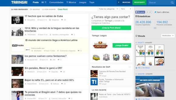 Taringa es la comunidad web más popular del 2014 en España