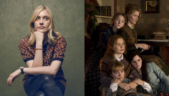 """(Izquierda) Greta Gerwig,la directora de """"Mujercitas"""". (Derecha) Parte del elenco principal de la cinta que se estrena en Perú el 23 de enero."""