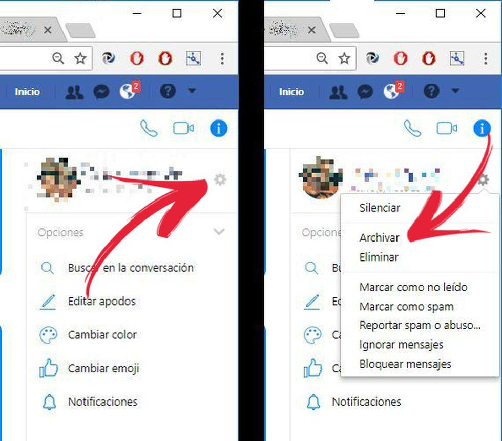 Así puedes archivar una conversación de Facebook Messenger. (Foto: Facebook / El Comercio)