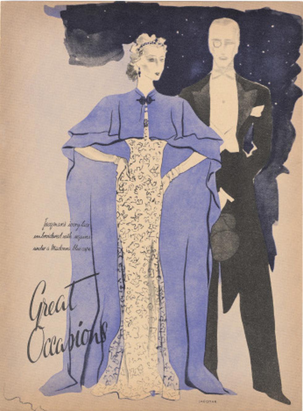 """""""Great Occasions"""". Diseños de trajes de noche concebidos por Jacqmar e ilustrados por Luza en 1937. (Reynaldo Luza. Pintura y diseño)"""