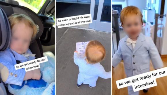 El look del pequeño que acompañó a su madre a una entrevista de trabajo causa furor en Internet. (Foto: @314handcrafted / TikTok)